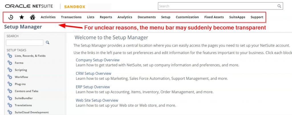 NetSuite Transparent Menu Bar Illustrated