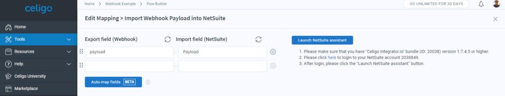 Celigo webhook NetSuite mapping